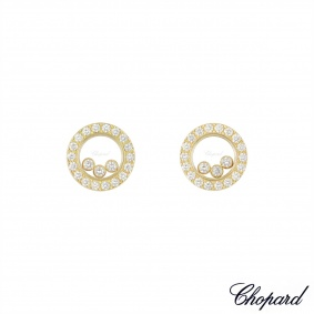 Chopard Yellow Gold Happy Diamonds Earrings